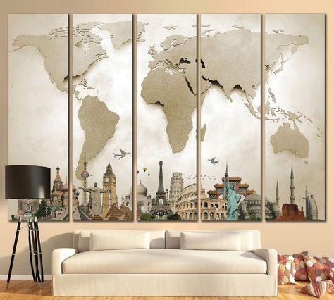 Beige 3D Effect World Map Ready to Hang Canvas Print №702 Diy\u0027s