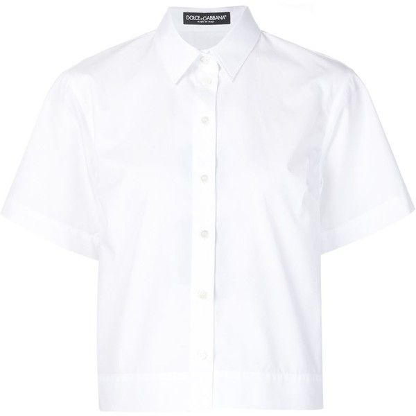 Dolce Gabbana Boxy Shirt (1,845 PEN) ❤ liked on Polyvore featuring tops, shirt tops, white short sleeve shirt, short sleeve tops, short-sleeve shirt and white top