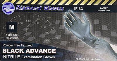 Diamond Gloves Black Advance Nitrile Hospital Gloves