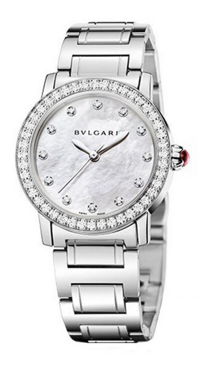Bvlgari Lady 33 mm Automatic - швейцарские женские часы наручные, белые с бриллиантами