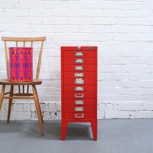 Vintage Orange Bisley Filing Cabinet //