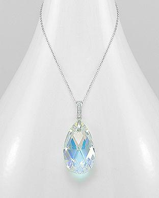 Finder den mega seje og trendy sølv halskæde med Swarovski krystal dråbe hos Norlume.dk