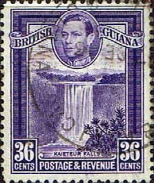 British Guiana 1938 King George VI SG 313 Kaieteur Falls Fine Used  SG 313 Scott 233a Perf 12 5  Other Commonwealth Stamps for sale Here