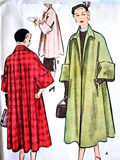 1950s LUXURIOUS Swing Back Coat Pattern McCall 8294 Gorgeous Full Coat in 2 Lengths Lovely Deep Cuffs Bust 32 Vintage Sewing Pattern