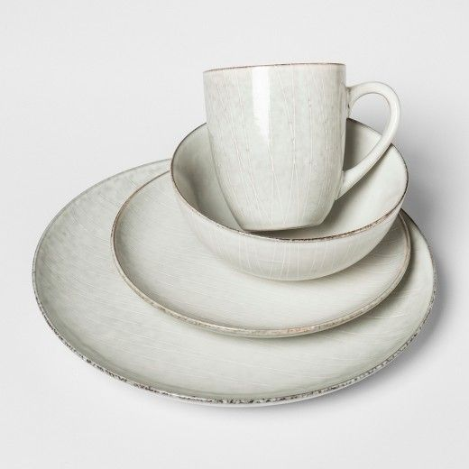 Solene Round Stoneware 16pc Dinnerware Set White - Project 62™ : Target