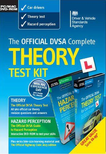 Complete Theory Test Kit – DVSA Official- 2016 Edition (Mac/PC) ---   i) the Official DVSA theory test for car drivers DVD-ROM, with multiple choice questions from the theory test question bank, with answers and explanations, dealing with topics such as: alertness, vehicle safety and handling, safety margins, hazard awareness, vulnerable road users, motorway rules and rules of the road, road and traffic signs, documents, accidents, and vehicle loading;  ii) the Official guide to hazard…