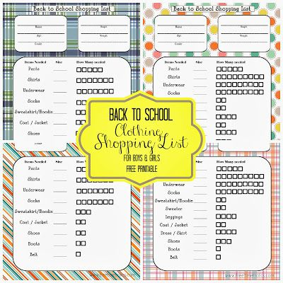 Back to School Shopping List {Free Printable}