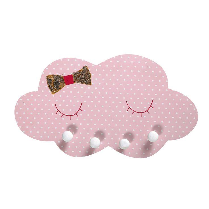 Colgador infantil nube de lunares de madera rosa COQUETTE