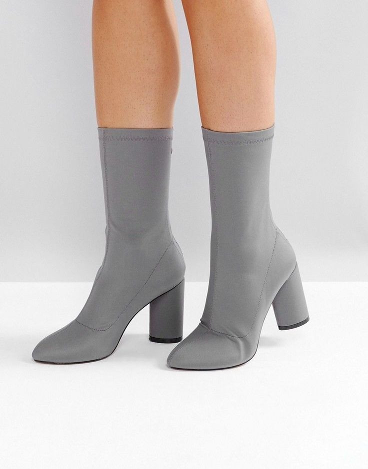 RAID Dale Dark Gray Heeled Sock Boots - Gray