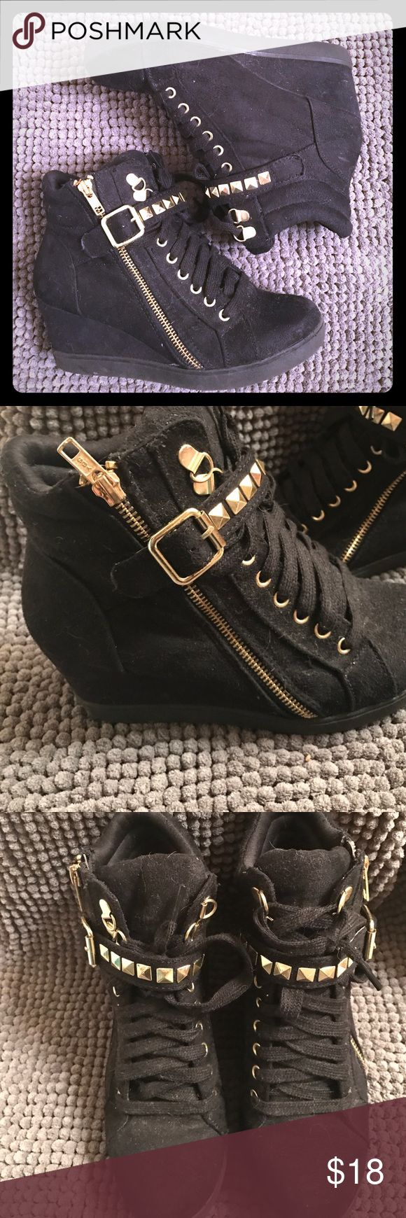 Black studded lace up hidden wedge shoes Worn a handful of times- a little dusty, but still super cute Shoes Sneakers