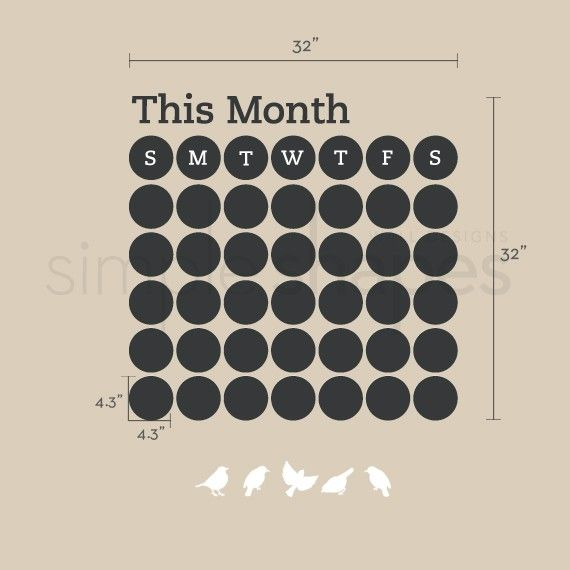 Stay organized with the help of this fun chalkboard wall calendar. This calendar wall decal incorporates a black chalkboard vinyl that you can write on and erase. It is applied directly to the wall. (Chalk Ink pen not included.)  No more dirty hands, try our Chalk Ink Pens! Click here and add one to your order! http://www.etsy.com/listing/66244174/chalk-ink-chalkboard-marker-white-6mm  The main body of this decal comes pre-arranged on a transfer sheet for easy application. (you do not need…