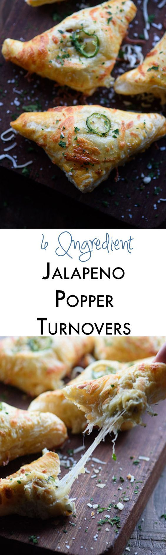 Jalapeno popper turnovers are the perfect easy appetizer recipe! The cheesy filling is mixed with bacon and jalapeño and then wrapped in store bought puff pastry. I always get asked for the recipe! http://theadventurebite.com/jalapeno-popper-turnovers/