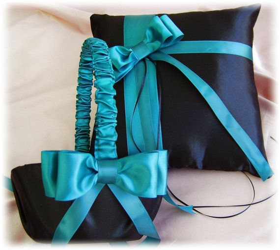 Teal Black Wedding Flower Girl Basket and Pillow Set, Teal and Black Wedding Accessories Ceremony Decor. I want them they are perfect!!!!