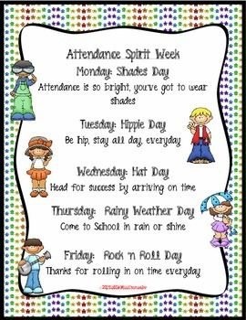 Free attendance spirit week sample that is editable and groovy with style. 2 backgrounds provided.