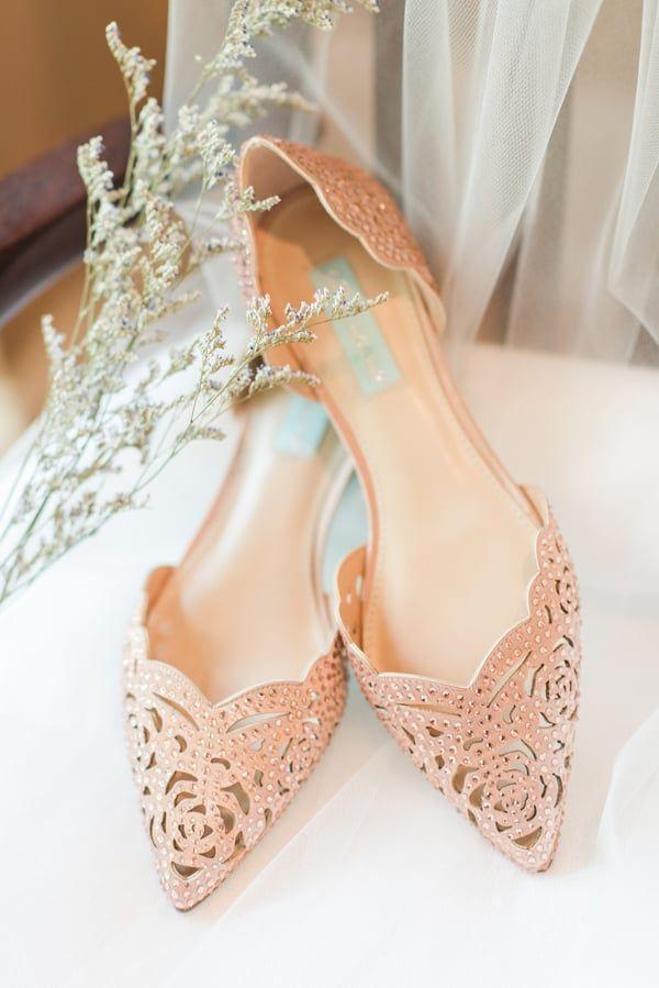 Rose gold pointed bridal flats   Bridal