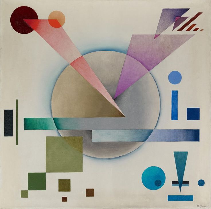 Adante 1938. Rudolf Bauer (1889- 1953) was a German-born painter who was involved in the avant-garde group Der Sturm in Berlin. Among the artists who were in the Der Sturm group were Wassily Kandinsky, Marc Chagall, Paul Klee, and Franz Marc. Like Paul Klee, Bauer became a teacher in the Sturm School. His work would become central to the Non-Objective art collection of Solomon R. Guggenheim.