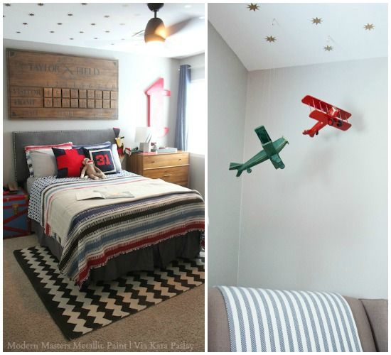 painted stars on ceiling in boys room with metallic paint modern masters project by kara - Metallic Kids Room Interior