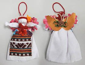 Small Motanka Doll Ornament. These traditional doll ornaments are made by hand, with natural materials and hand-woven aprons. Makes for a lovely accompanying gift for someone special, and should be accompanied by well-wishes by the giver! Or give them as stocking stuffers or good luck charms.