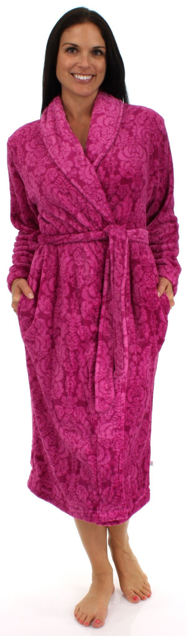 """Karen Neuburger is best known for comfy cozy sleepwear, often referred to as """"California Cashmere"""". Made of 100% polyester. The long sleeved shawl collar robe measures 44"""" in length and includes two s"""