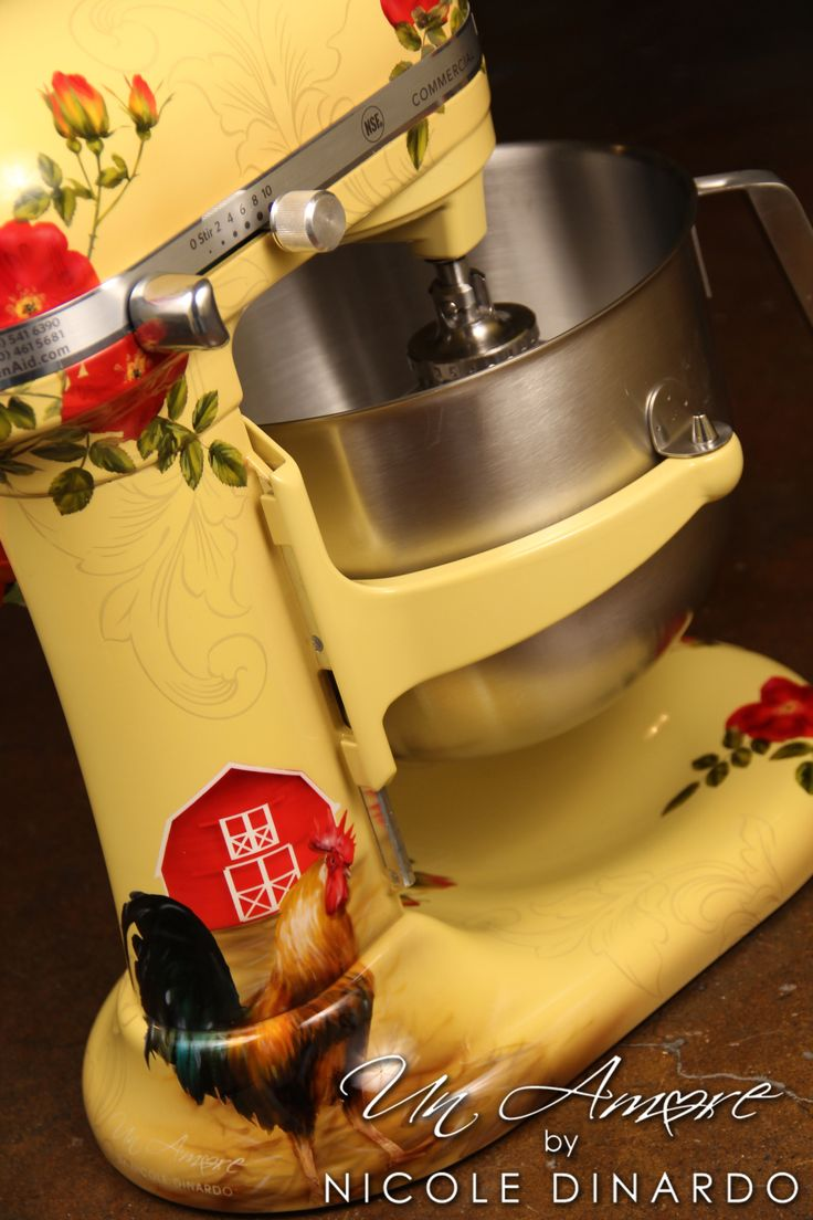 Custom rooster themed kitchenaid mixers in 2020 kitchen