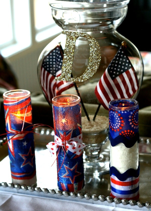 Budget friendly candles decorated with Mod Podge, napkins and embellishments.