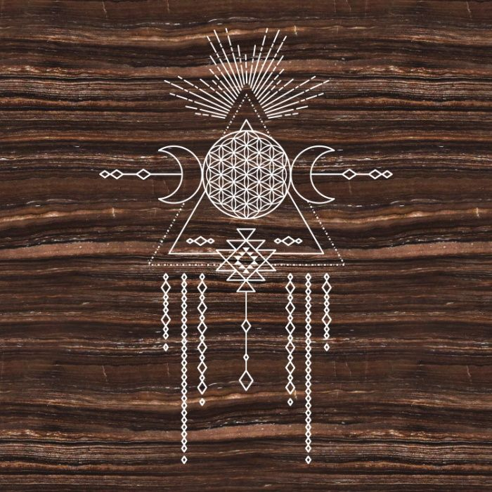 Triple Goddess - Flower of Life - Moon Phase - Shaman - Tribal - Sri Yantra - Brown Marble - Wood - Art Print by AURA By MJ. Worldwide shipping available at Society6.com. Just one of millions of high quality products available.