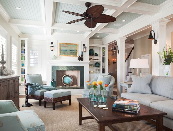 Great family room trims and fireplace: Idea, Ceilings Treatments, Beaches House, Living Rooms Design, Colors, Ceilings Design, Coastal Style, Coastal Living, Ceilings Fans