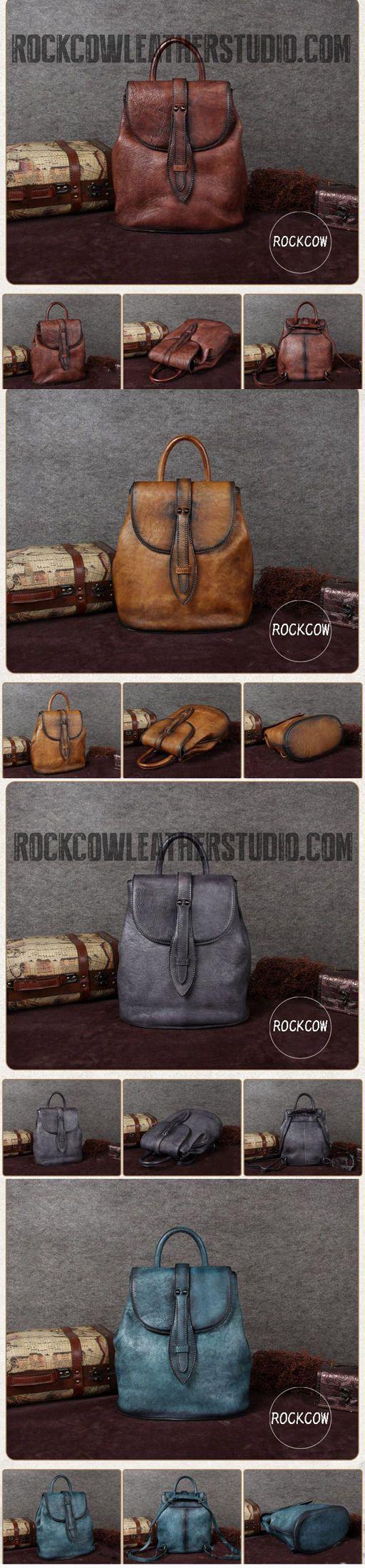 Handmade Full Brain Leather Backpack, Vintage Backpack, College Backpack A0069