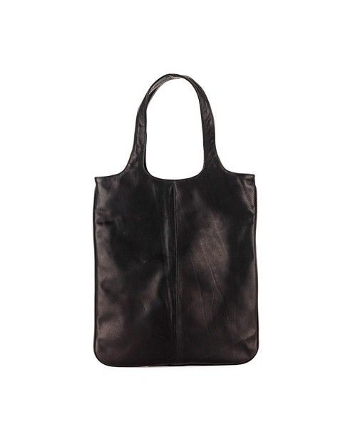 ZILLA Black leather shopper with handles Size: 44x49x15 cm