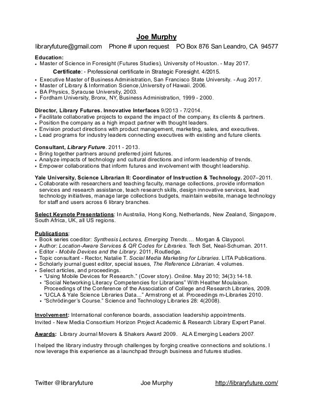 University Business Librarian Resume - The best estimate - resume library