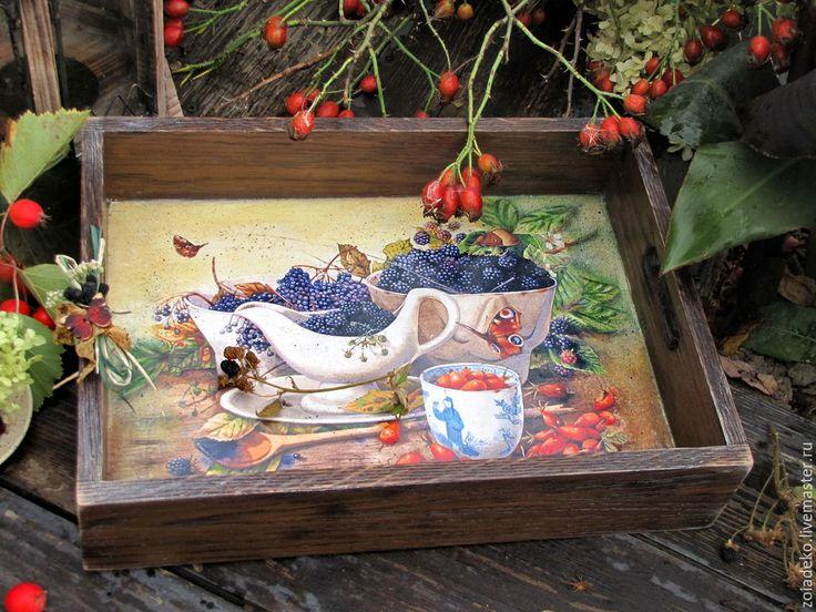 """Купить Поднос """"Чай с ежевичным вареньем"""" - коричневый, поднос, поднос для кухни, поднос деревянный"""