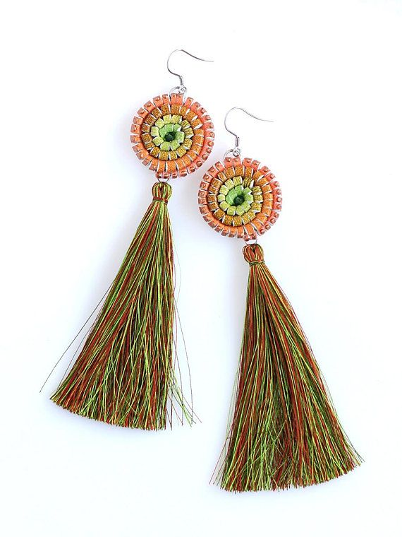 Tassel Leather Earring Hand Painted Leather Ombre Green