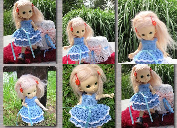 Crocheted dress on a doll Fairyland pukifee Luna 1/8 bjd free