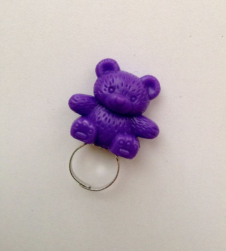 Purple teddy bear toy ring by PokeysWorld on Etsy https://www.etsy.com/listing/215755322/purple-teddy-bear-toy-ring
