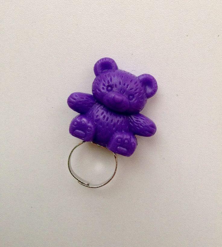 Purple teddy bear toy ring by PokeysWorld on Etsy https://www.etsy.com/listing/215755322/purple-teddy-bear-toy-ring