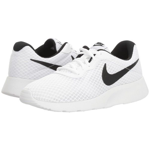 Nike Tanjun (White/Black) Women's Running Shoes ($65) ❤ liked on Polyvore featuring shoes, athletic shoes, nike shoes, running shoes, round cap, white and black shoes and round toe shoes