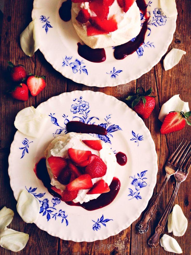 sweetsugarbean: Rose Pavlova with Raspberry Pomegranate Sauce