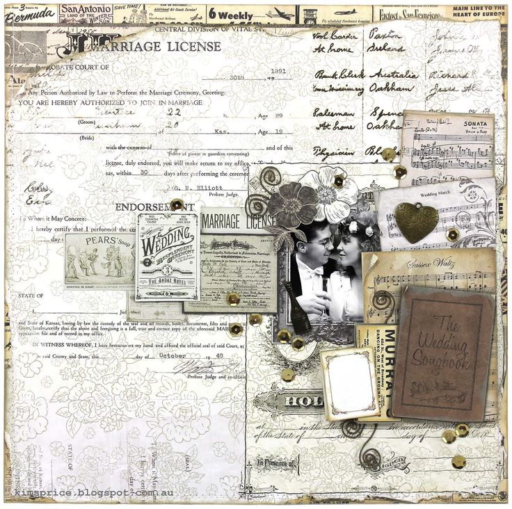A Wedding Layout - 7 Gypsies Harmony Collection by Kim Price. Wendy Schultz ~ Scrapbook Pages 1.
