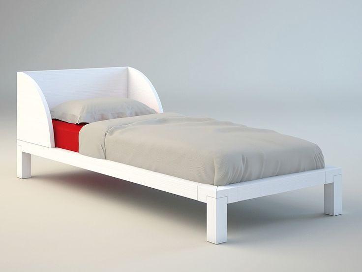 Einzelbett, Bett aus Holz, Bett für Kind Schlafzimmer Zimmer Solid wood Vintage 02