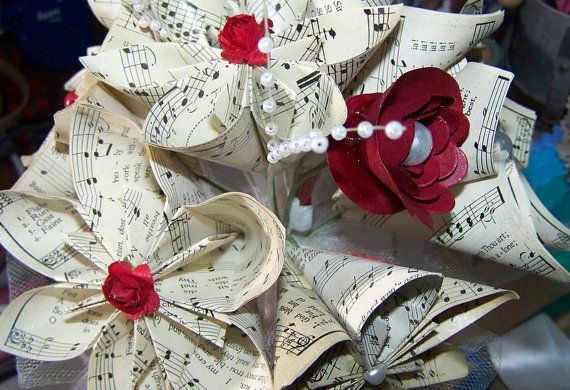 Origami Wedding Bouquet 8 Flowers and Many by GracelinePaperStudio