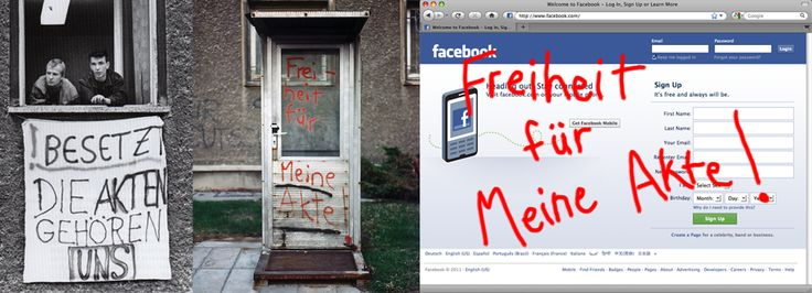 """""""Give Me My Data"""" is a Facebook application inspired by the Stasi files controversy in East Germany that lets you export your facebook data in txt, csv, xml, json, dot, sql, and python formats. """"Freiheit für meine Akte!"""" translates to """"Free my files!"""""""