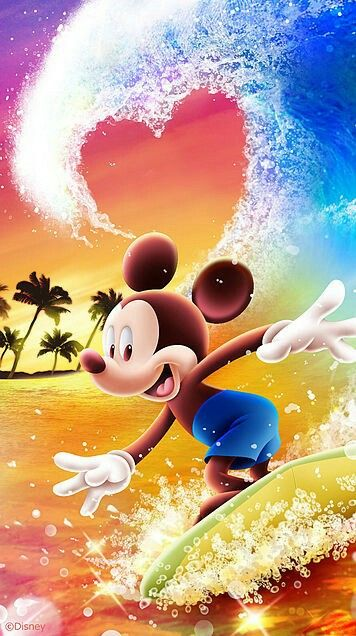 Mickey shooting through what looks to be a heart shaped curl on his Hawaiian holiday.