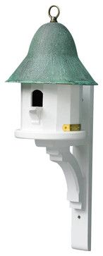 Lazy Hill Farm Designs Copper Top Bird House with Blue Verde Copper Roof beach-style-birdhouses