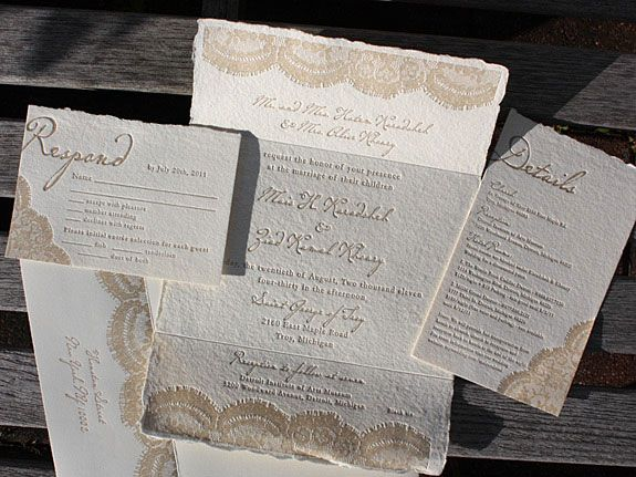 lace wedding invite - letterpress pattern