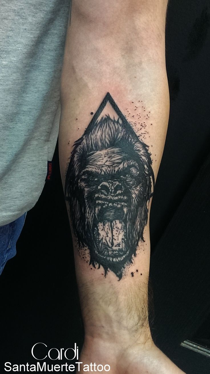Angry gorilla by CardiTattoo