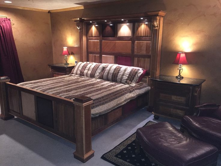 Bed and night stands I built with some exotic woods!