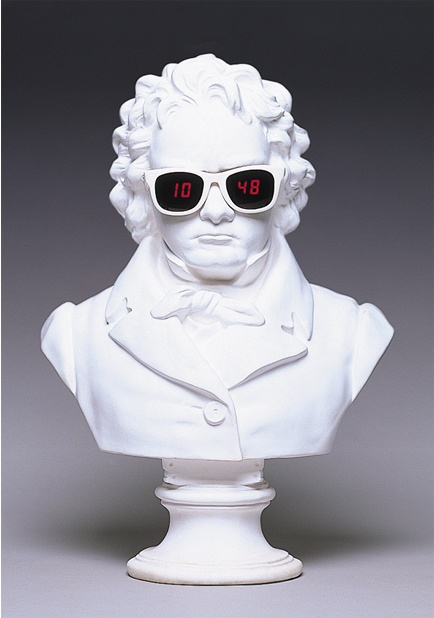 Beethoven bust sporting a pair of Vuarnet sunglasses - can you see the hour and minutes displayed in the lenses in this limited edition clock?