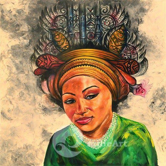 Lukisan Yogyakarta by milieArt: Lukisan Wajah Wanita Etnik Premium MP-067