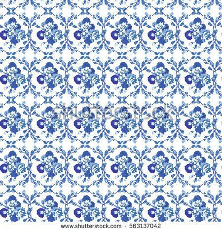 Elegant gentle blue and white pattern in small-scale flower buds. Millefleurs. Arabesque style. Floral seamless background for textile, porcelain, chinaware, wallpapers, print, gift wrap, scrapbooking