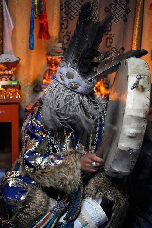 Mongolian Shaman Batgerel Batmunkh performs a Shaman ceremony summoning the white spirit in their ger on the outskirts of Ulan Bator, Mongolia, 04 July 2012. Pic and description byHow Hwee Young